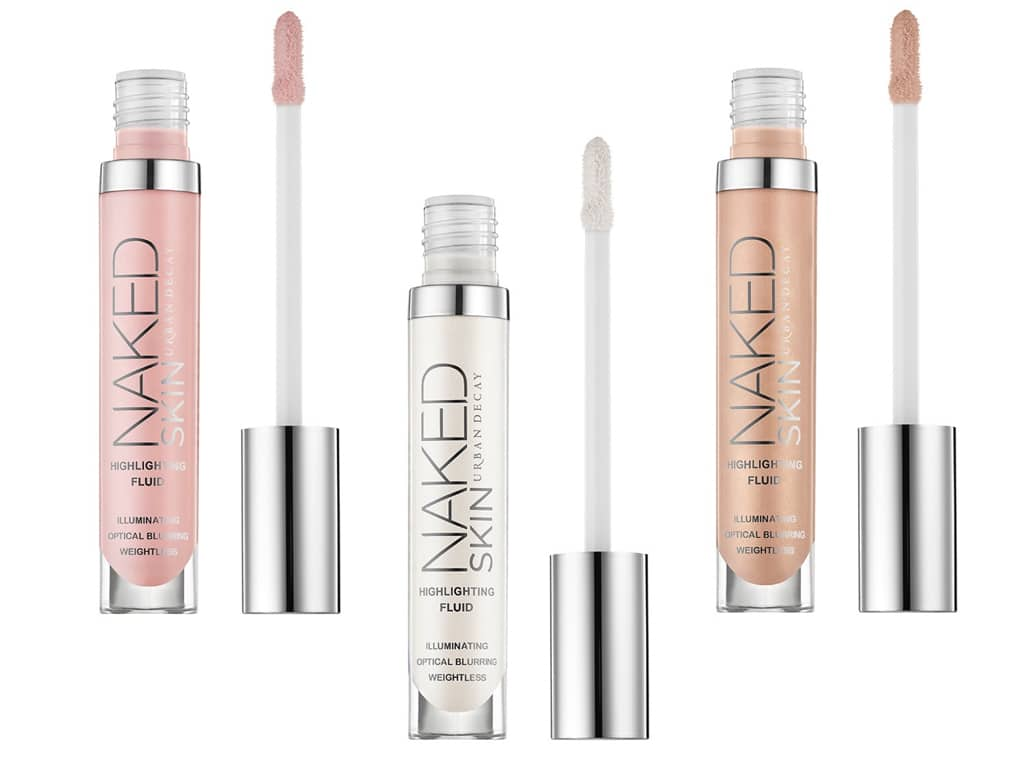 Naked Skin Highlighting Fluid in tre varianti con il pratico applicatore da viaggio.