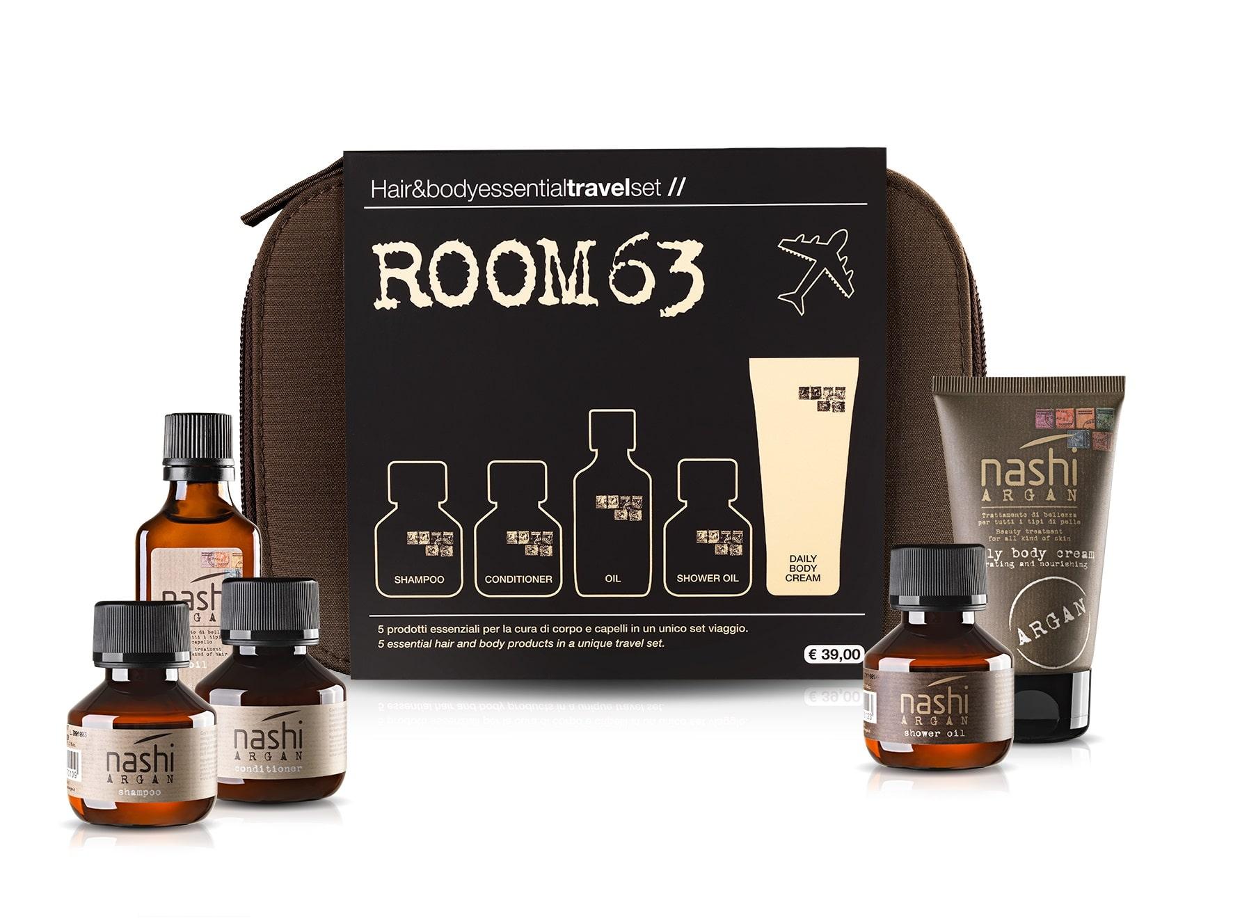 Nashi Argan Travel Set ROOM 63: il kit per corpo e capelli sani