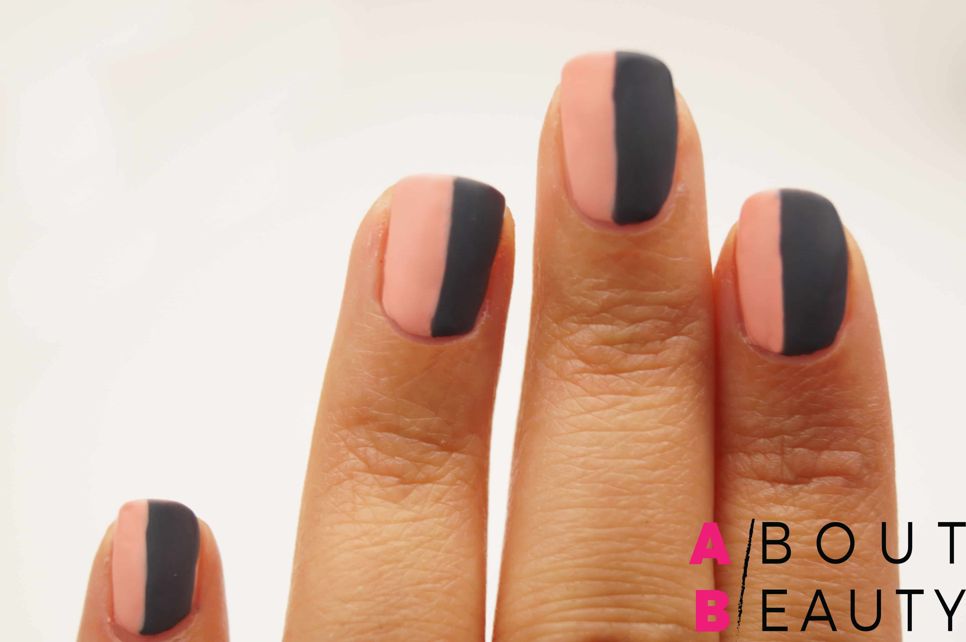 Tutorial nail-art autunnale rosa e grigia effetto matte con Swarovski - Step 5: applicazione del top coat effetto matte