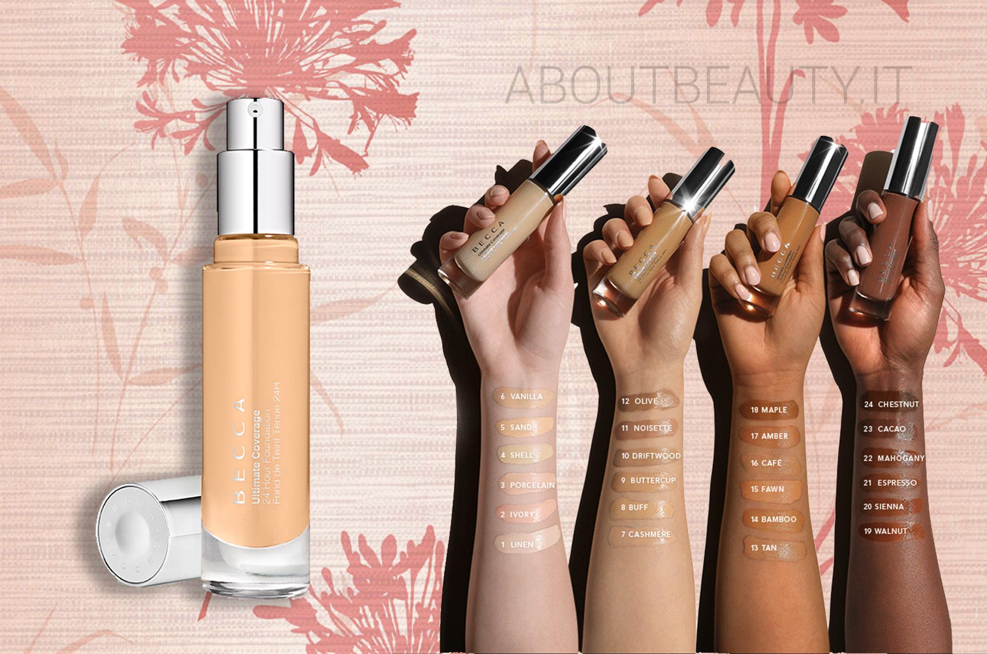Tutte le novità Becca Cosmetics: la nuova palette viso Be a Light, l'Ultimate Coverage Foundation e i nuovi illuminanti, info, prezzi, swatch, opinioni, review, recensione