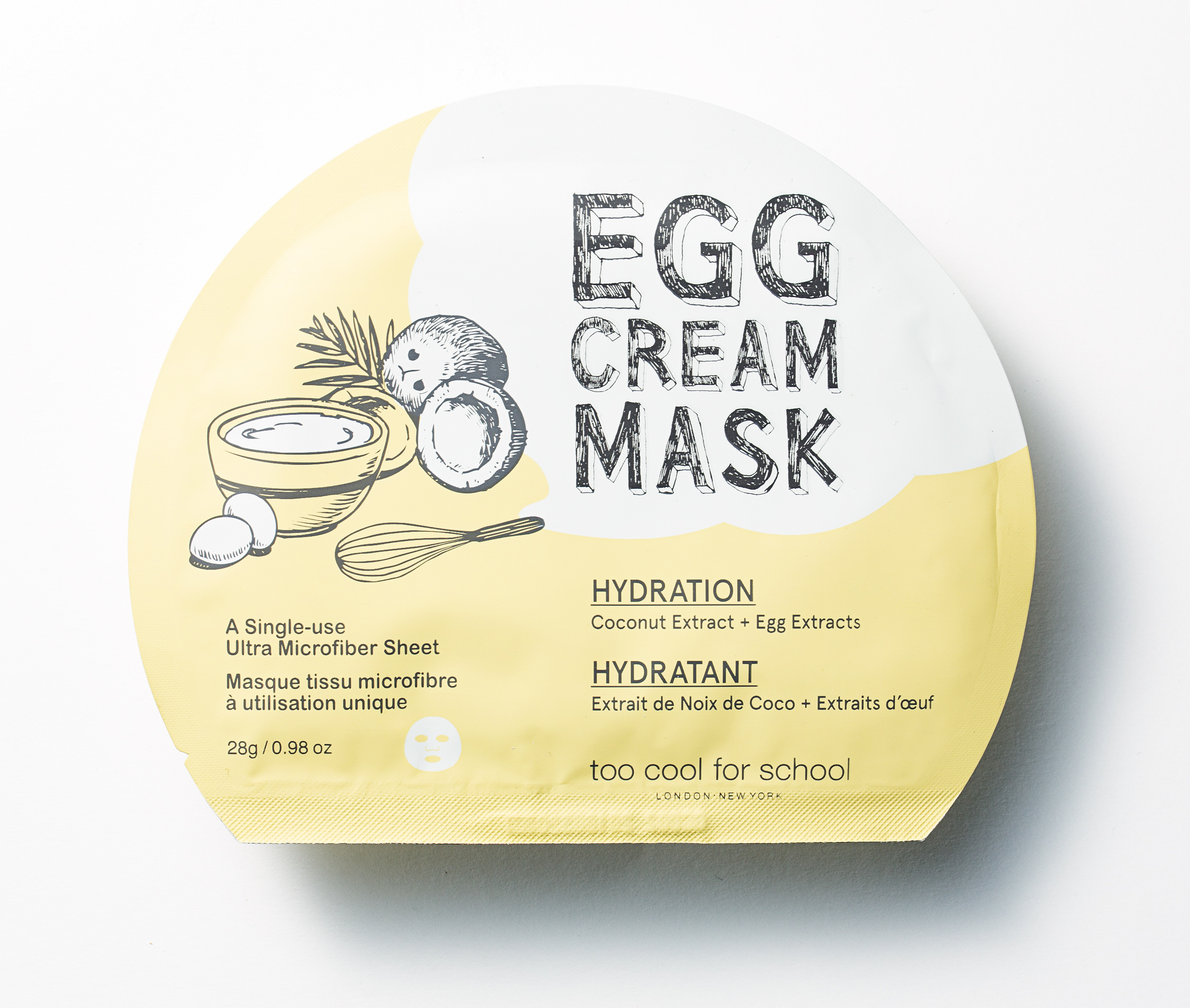 La egg cream mask hydration della Egg Collection by Too Cool For School