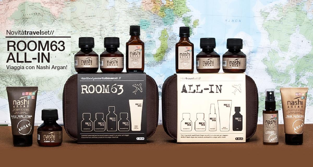 I due kit da viaggio per corpo e capelli Nashi Argan Travel Set