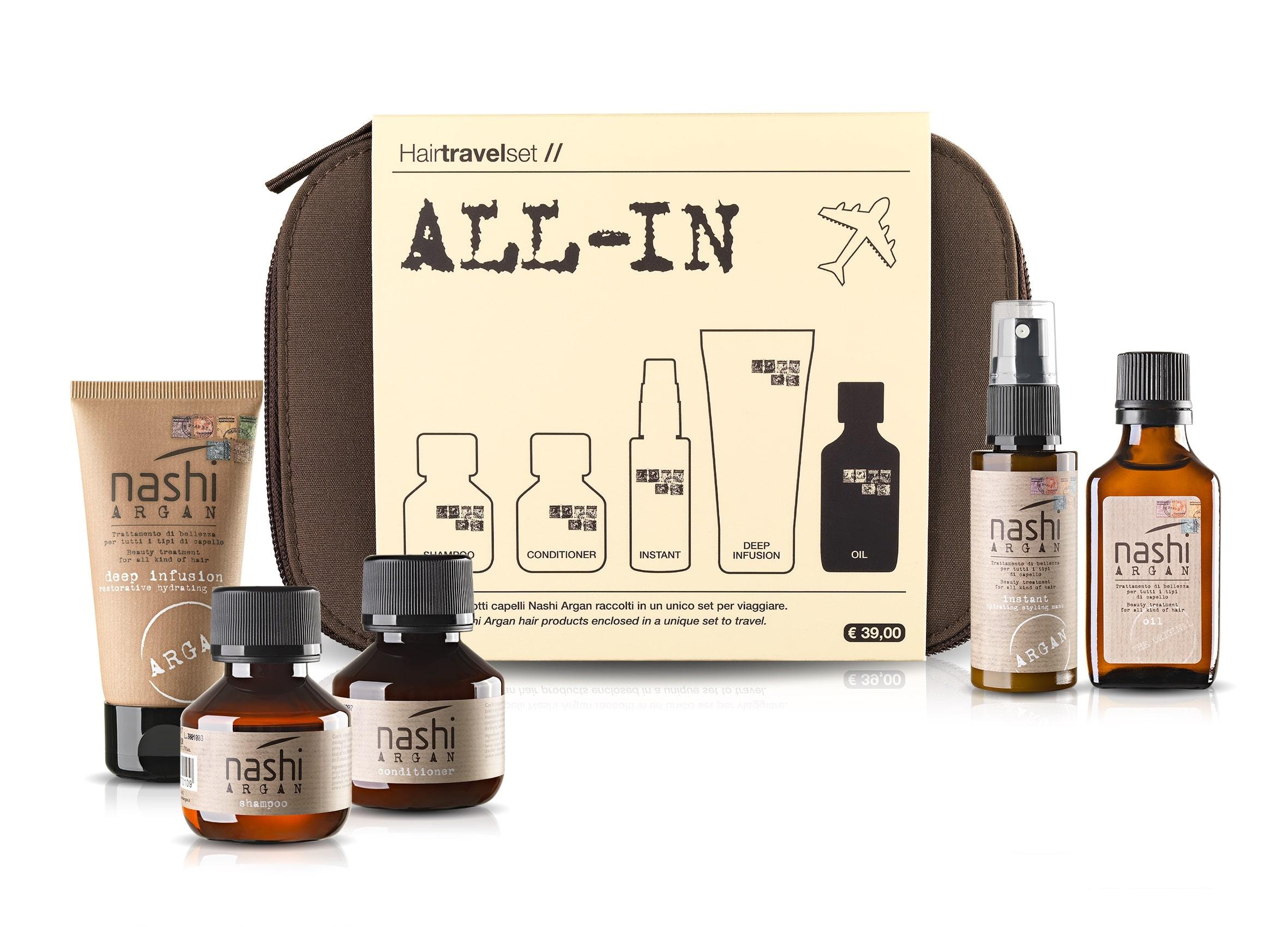 Nashi Argan Travel Set ALL-IN: il kit da viaggio completo per la cura del capello