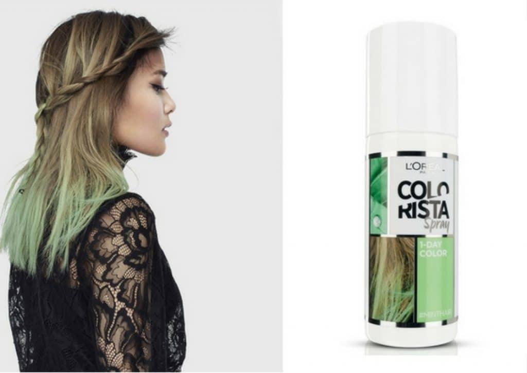 """Greenery,tinta Spray Colorista di L'Oreal nella colorazione """"Mint"""""""