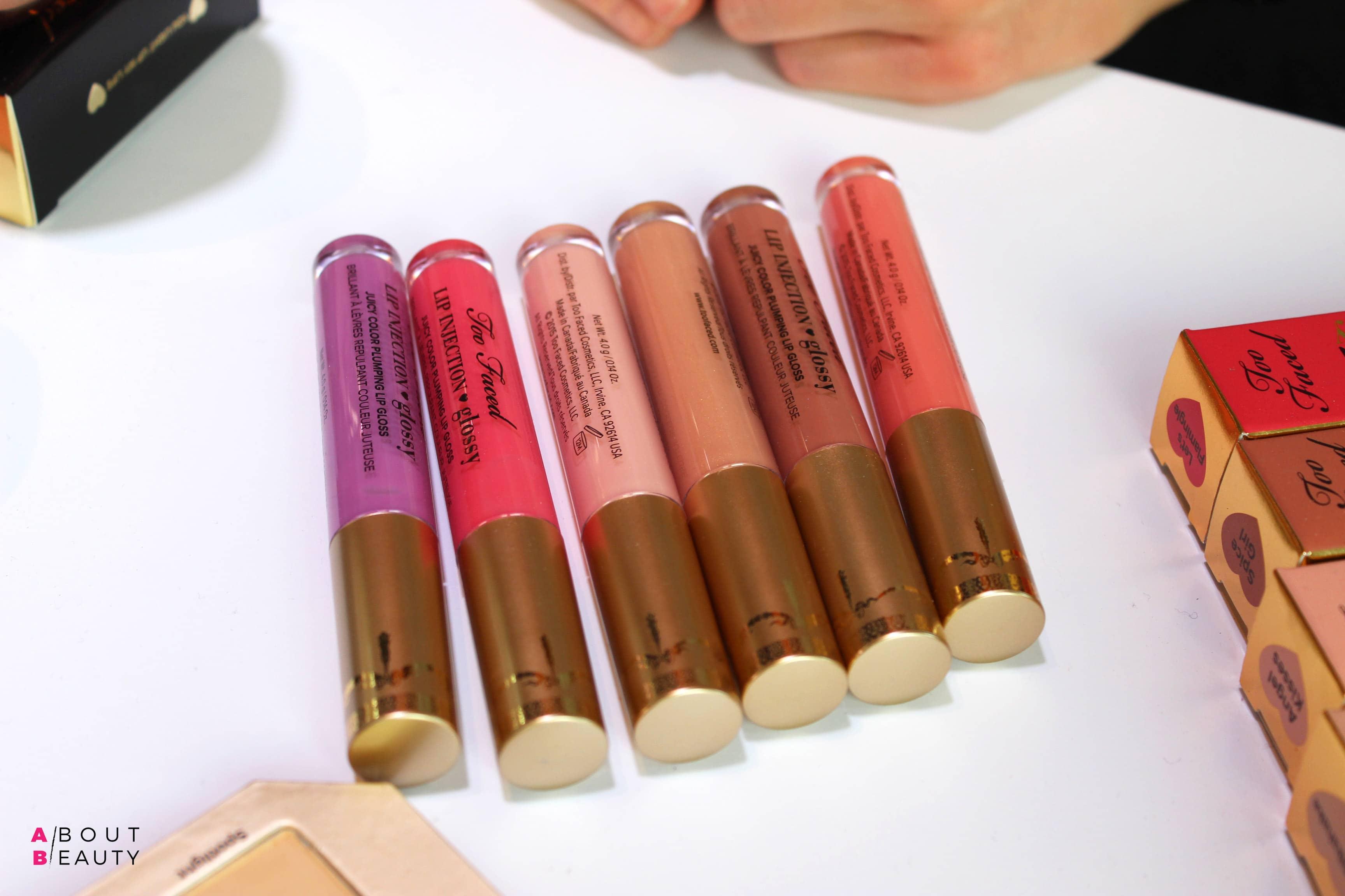 Too Faced Primavera-Estate 2017, tutte le novità - Le tonalità dei rossetti Liquidi Lip Injection Glossy