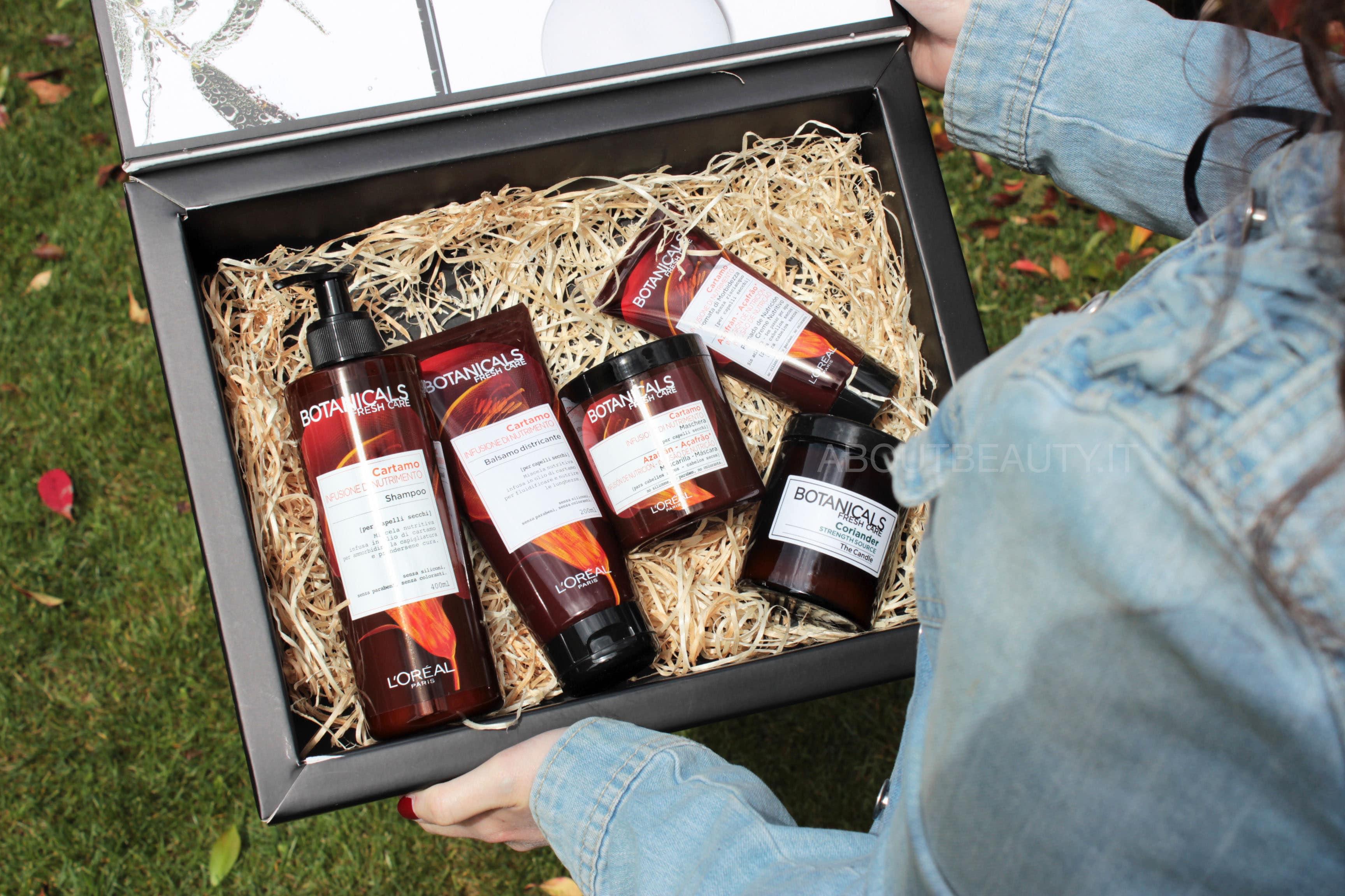 L'Oreal Botanicals Fresh Care, la linea al Cartamo per capelli secchi - La box con i prodotti