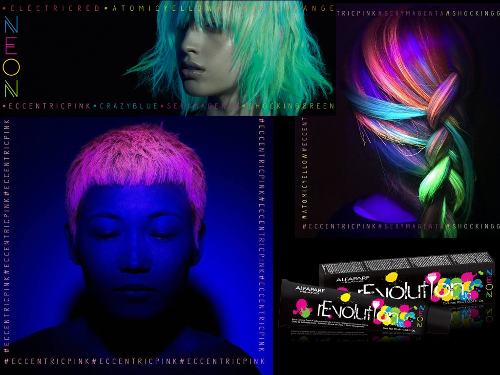 Revolution Neon di Alfaparf: la linea di colore alternativa per capelli dai colori che si accendono anche al buio