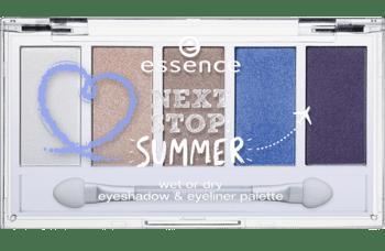 Essence Next Stop Summer Palette: cinque colori straordinari ed estivi da utilizzare asciutti come ombretti o bagnati come eyeliner super resistenti