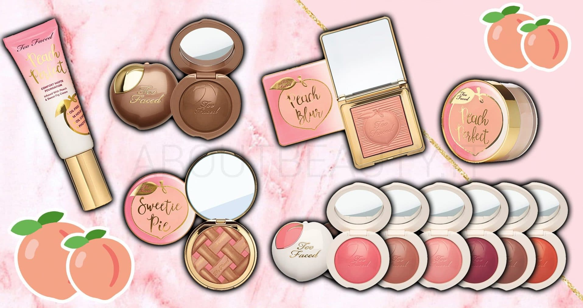 Le novità Too Faced Primavera/Estate 2018 - Review, recensione, info, prezzo, dove acquistare, swatch - Fondotinta Peach Perfect Foundation, Blush Peach My Cheeks, Cipria Peach Blur, Bronzer Sweetie Pie e Bronzed Peach