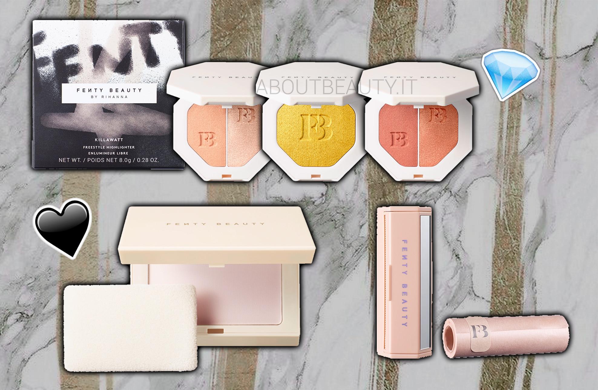 Fenty Beauty by Rihanna arriva in Italia dal 6 aprile, in esclusiva da Sephora - Prodotti viso, occhi, labbra - Review, recensione, opinioni, info, prezzo, dove acquistare, prodotti migliori, swatch - Fondotinta, Match stix matte e shimmer, Invisimatte, Killawatt illuminante, Gloss Bomb, Stunna Lip Paint