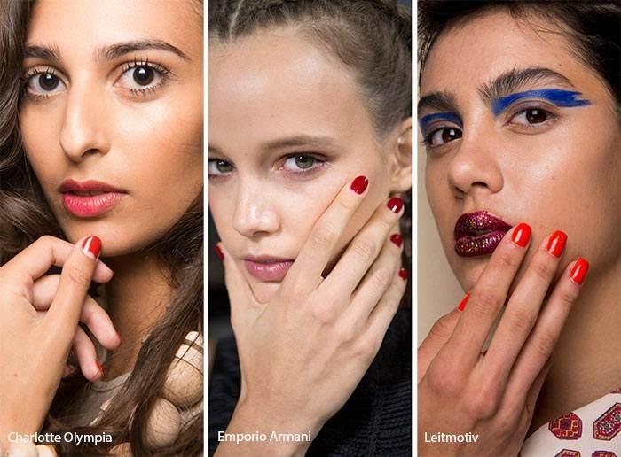 Tutte le tendenze unghie primavera/estate 2018: unghie corte rosso glossy