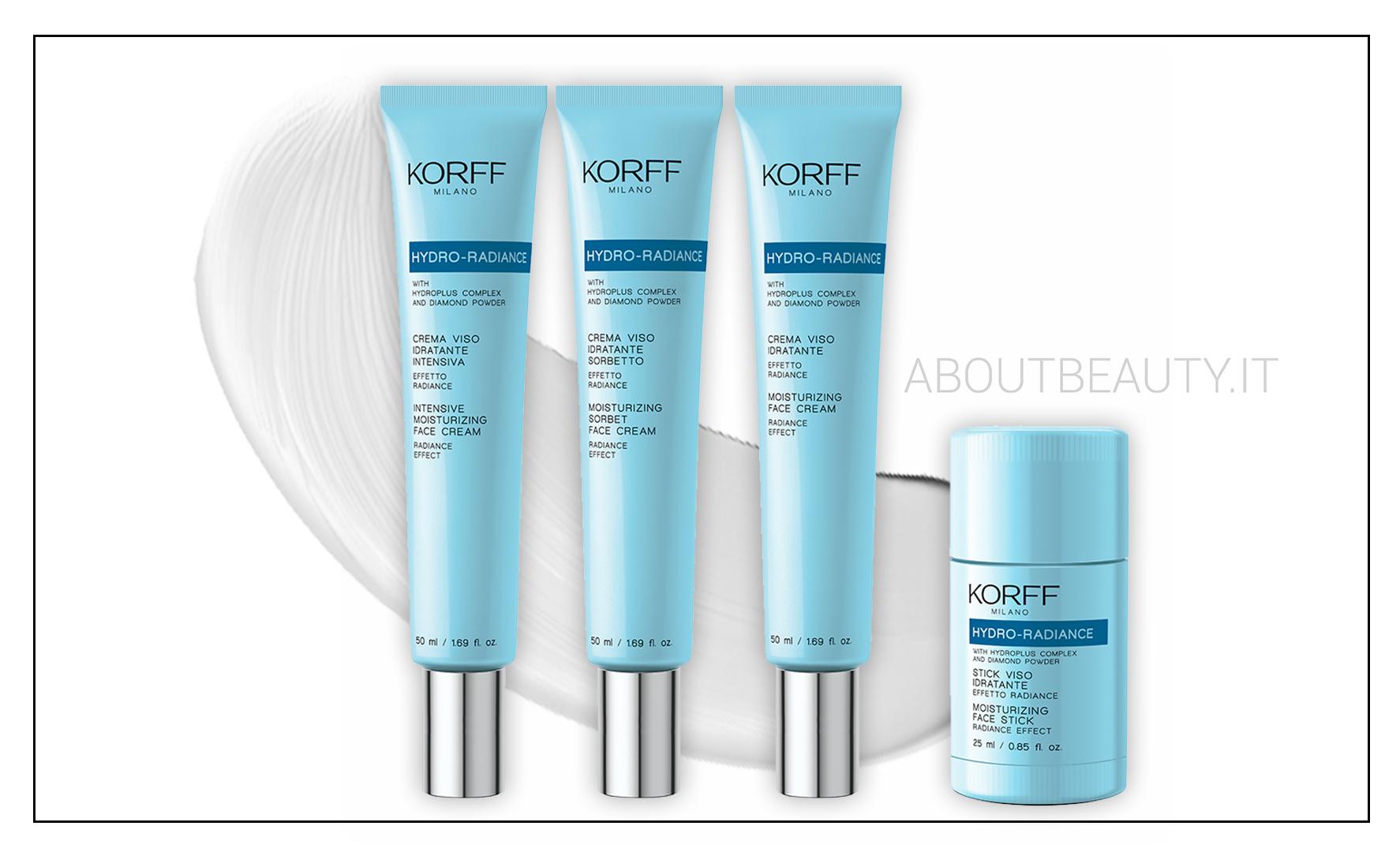 Le nuove uscite Korff 2018: la linea hydro radiance per il viso