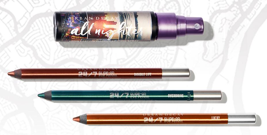 Born To Run Collection di Urban Decay, info, prezzi, swatches, opinioni, review, recensione, swatch, dove acquistare - Spray fissante All Nighter, Matite occhi 24/7 Glide on Eye Pencil