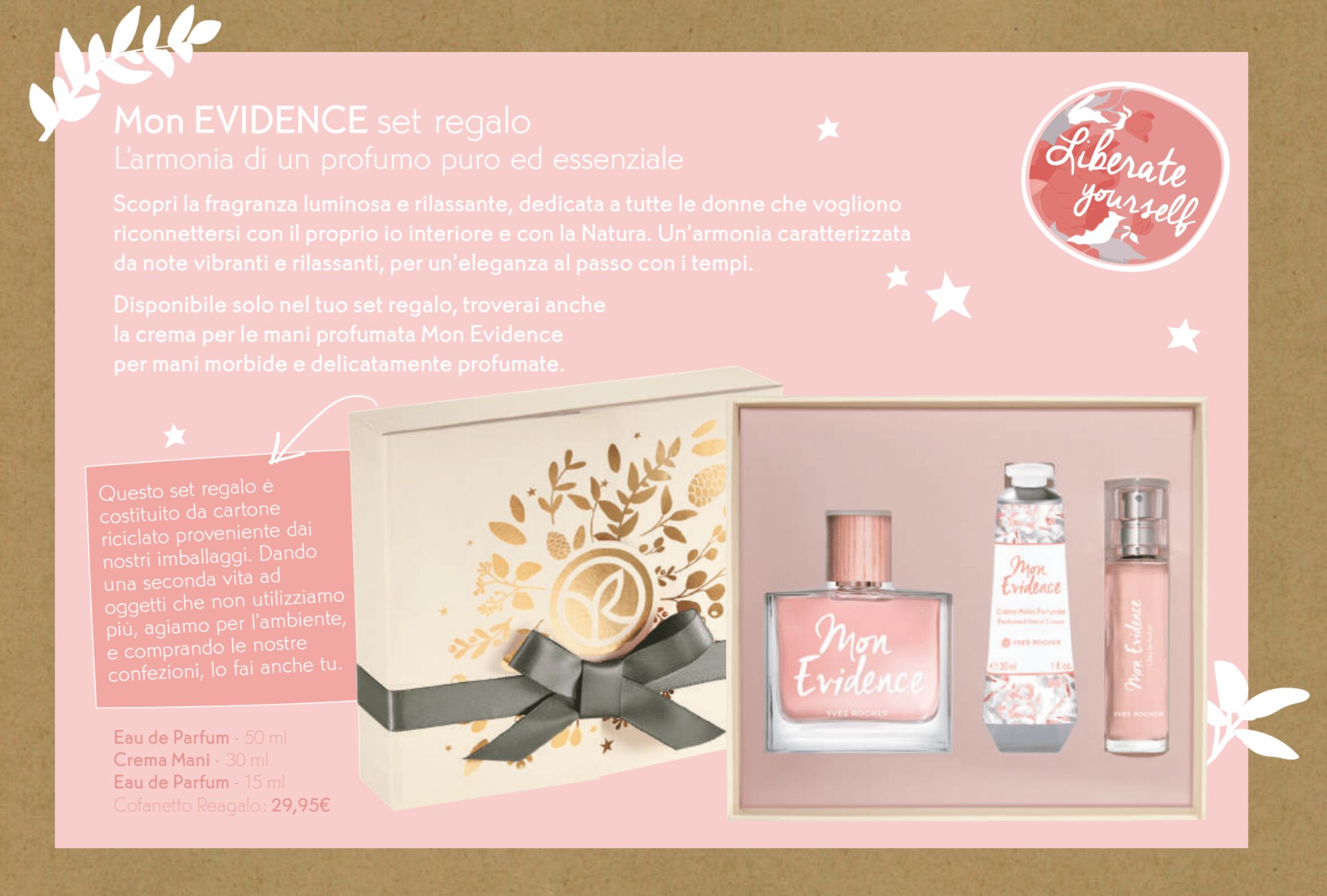 Il Natale Yves Rocher - Idee regalo, cofanetti, info, review, recensione, prezzo, cestini - Kit profumo Mon Evidence