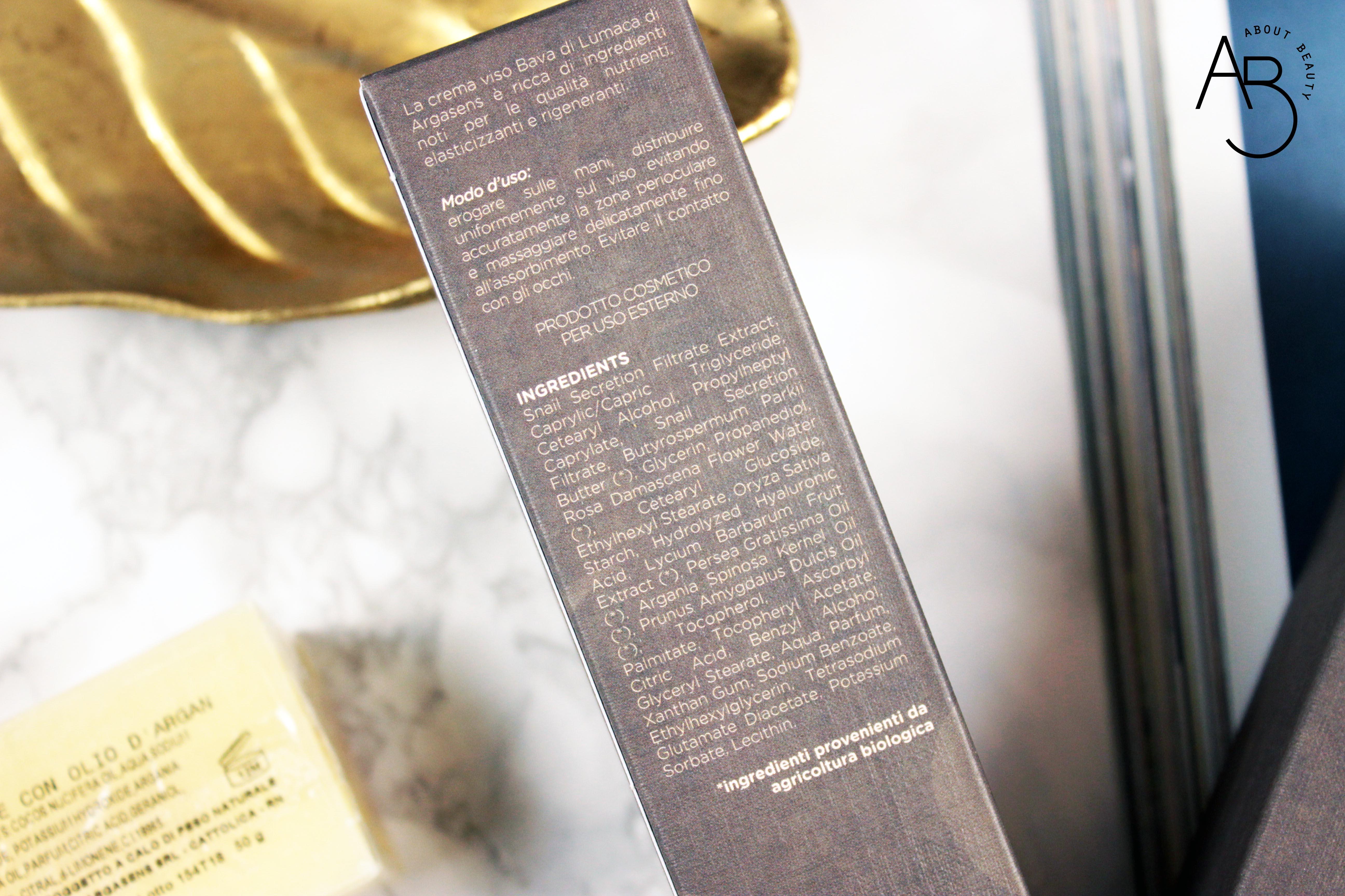 Argasens, olio di argan biologico puro e crema viso alla bava di lumaca - Recensione, info, review, prezzo, dove acquistare, inci - Crema viso bava di lumaca con olio di argan