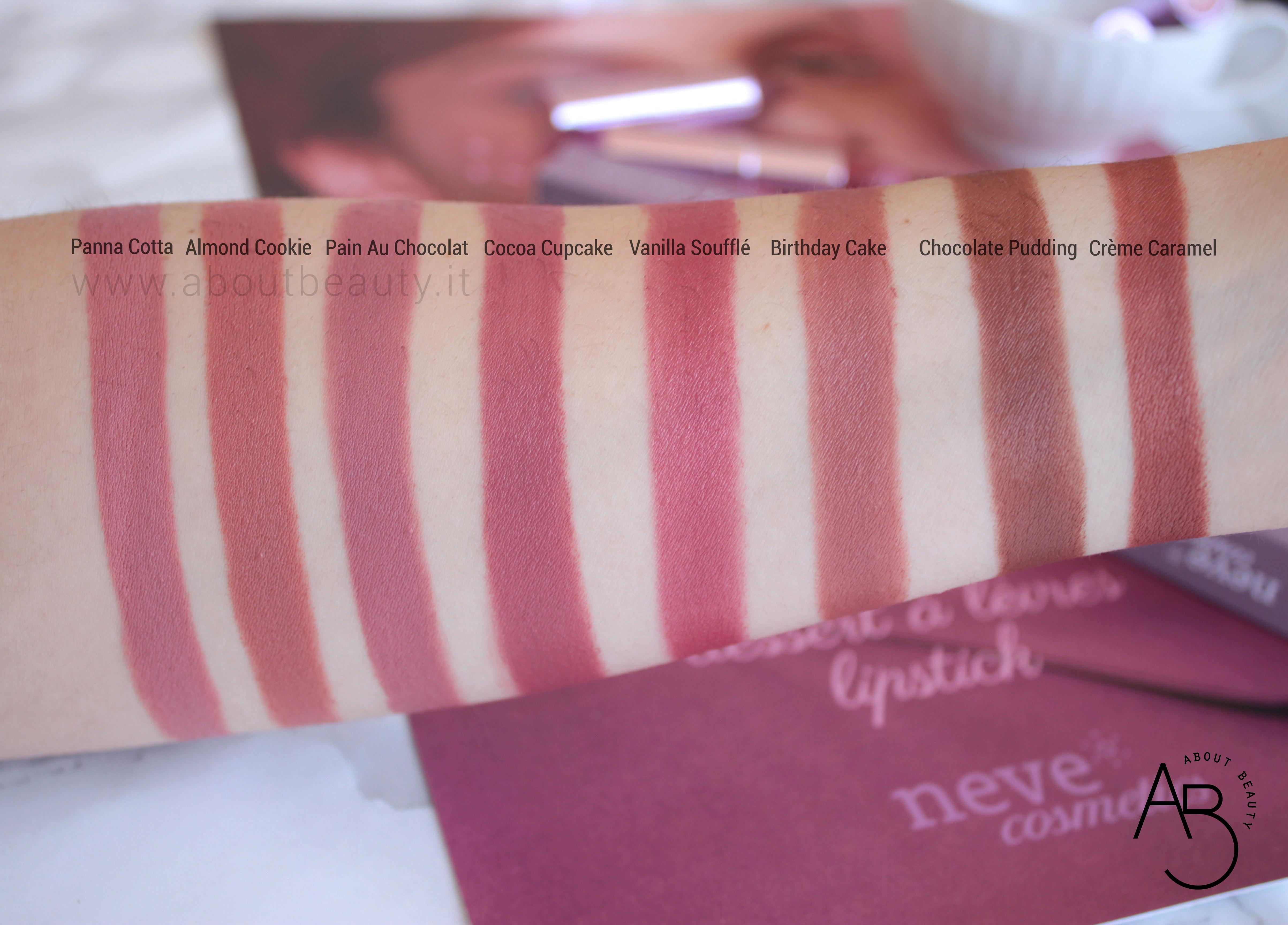 Nuovi rossetti newDElicious Dessert a Levres Neve Cosmetics 2019 - Info, review, recensione, opinioni, swatches, data uscita, prezzo, sconto - Tutti gli swatch